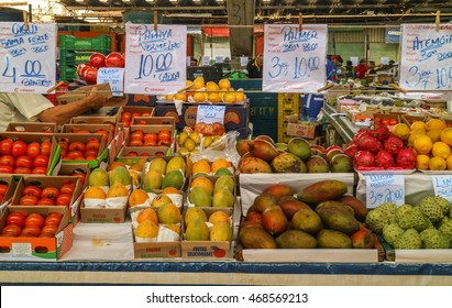 Sao Paulo, Brazil - March 20 2016: An unidentified group of people at commerce, selling vegetables, fruits and food at famous place called Ceagesp, Sao Paulo City