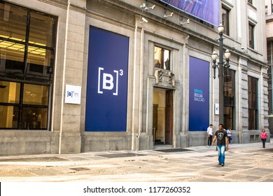 Sao Paulo, Brazil, March 30, 2017. Facade of the B3, a Stock Exchange located at Sao Paulo, Brazil and the second oldest of the country. Located in the building where the old Bovespa
