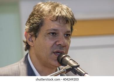 Sao Paulo, Brazil, March 31, 2016: Fernando Haddad, Brazilian politician, Mayor of Sao Paulo in Press Conference