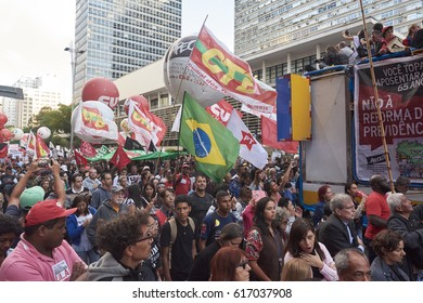 Sao Paulo, Brazil - March 31, 2017: Protest of workers against President Michel Temer, against social security reform, against corruption and against the reduction of workers' rights.
