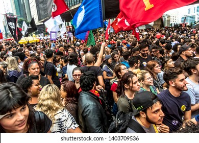 Sao Paulo, Brazil, May 15, 2019. Demonstration of students and teachers against the education cuts made by the federal government of President Jair Bolsonaro, on Paulista Avenue,