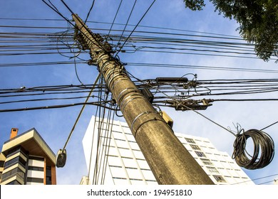 SAO PAULO, BRAZIL, May 15, 2014. power lines on electric pole