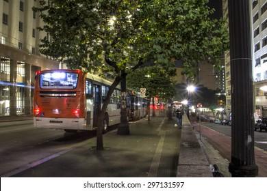 Sao Paulo, Brazil, May 21, 2015. Street in downtown Sao Paulo at Night