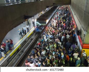 SAO PAULO, BRAZIL - MAY 22, 2013 - Crowded brazilian subway station - Se station