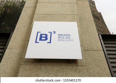 Sao Paulo, Brazil - nov 09, 2019 - Facade of the B3, a Stock Exchange located at old downtown, the historic city center. Written in portuguese: Brasil, Bolsa, Balcao. Advertising sign and logo