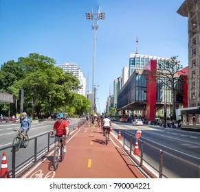 Sao Paulo, Brazil - Nov 11, 2017: Paulista Avenue Bike Lane - Sao Paulo, Brazil