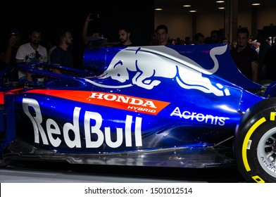 SAO PAULO, BRAZIL - NOV 15, 2018: The iconic Red Bull's charging bull on the engine cover of a 2018 Toro Rosso STR13 inside Honda pavilion at 2018 Sao Paulo International Motor Show.