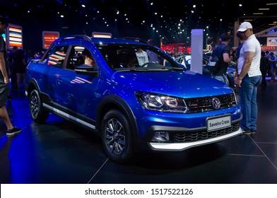 SAO PAULO, BRAZIL - NOV 15, 2018: A blue Volkswagen Saveiro Cross (German 2-door coupe utility - VW Gol variant / G5 Gen) displayed in Volkswagen pavilion at 2018 Sao Paulo International Motor Show.