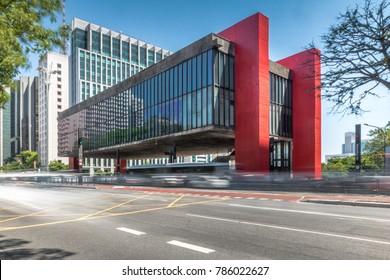 Sao Paulo, Brazil - Nov 15, 2017: Paulista Avenue and MASP (Sao Paulo Museum of Art) - Sao Paulo, Brazil