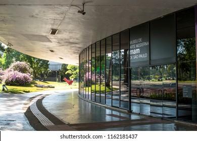 Sao Paulo, Brazil, November 05, 2011. Facade of Modern Art Museum, MAM, inside of Ibirapuera Park, in Sao Paulo