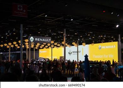 SAO PAULO, BRAZIL - NOVEMBER 14, 2016: The crowded Renault pavilion at 2016 Sao Paulo International Motor Show.