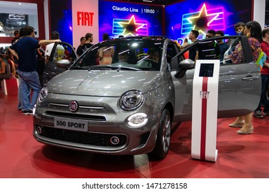 SAO PAULO, BRAZIL - NOVEMBER 15, 2018: A silver Fiat 500 Sport (hot hatch) two door small city car hatchback displayed inside Fiat pavilion at 2018 Sao Paulo International Motor Show.