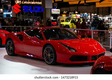 SAO PAULO, BRAZIL - NOVEMBER 15, 2018: The front of a red Ferrari 488 GTB italian mid-engine sports car displayed inside the small Ferrari booth at 2018 Sao Paulo International Motor Show.