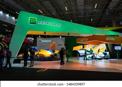 SAO PAULO, BRAZIL - NOVEMBER 15, 2018: The Petrobras pavilion (Petroleo Brasileiro - Brazilian Petroleum Corporation) at 2018 Sao Paulo International Motor Show.