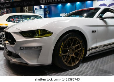 SAO PAULO, BRAZIL - NOVEMBER 15, 2018: A white Ford Mustang BTS550 (sixth generation) prepared by BTS Performance displayed inside small Batistinha booth at 2018 Sao Paulo International Motor Show.