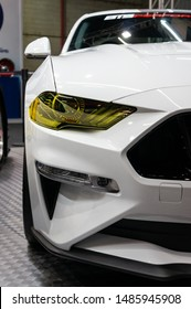 SAO PAULO, BRAZIL - NOVEMBER 15, 2018: Close up of a white Ford Mustang BTS550 (6th gen) prepared by BTS Performance displayed inside small Batistinha booth at 2018 Sao Paulo International Motor Show.