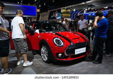 SAO PAULO, BRAZIL - NOVEMBER 15, 2018: A red Mini Cooper S Clubman (British 5-door supermini estate car - 2nd generation F54) displayed in Mini booth at 2018 Sao Paulo International Motor Show.