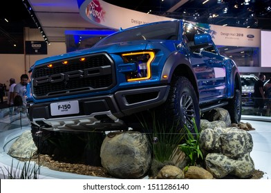 SAO PAULO, BRAZIL - NOVEMBER 15, 2018: A blue Ford F150 Raptor (American high-performance off-road vehicle - 10th Gen derived) displayed in Ford pavilion at 2018 Sao Paulo International Motor Show.