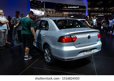 SAO PAULO, BRAZIL - NOVEMBER 15, 2018: Rear of a silver Volkswagen Voyage (German 4-door sedan - VW Gol variant / G5 Gen) displayed in Volkswagen pavilion at 2018 Sao Paulo International Motor Show.