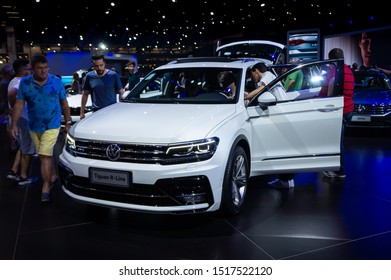 SAO PAULO, BRAZIL - NOVEMBER 15, 2018: A white Volkswagen Tiguan R-Line (German 5-door Compact crossover SUV - 2nd Gen 5N) displayed in Volkswagen pavilion at 2018 Sao Paulo International Motor Show.