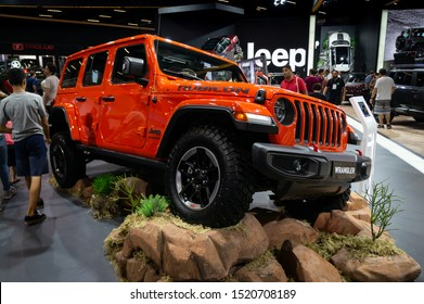 SAO PAULO, BRAZIL - NOVEMBER 15, 2018: An orange Jeep Wrangler Limited Rubicon edition (American 4-door SUV - 4th Gen JL) displayed in Jeep pavilion at 2018 Sao Paulo International Motor Show.