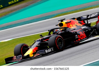 SAO PAULO, SAO PAULO, BRAZIL - November 15, 2019: MAX VERSTAPPEN of the Red Bull Racing during Brazilian Grand Prix 2019 free practice.