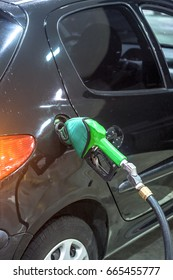 Sao Paulo, Brazil, November 15, 2011. detail of a car being fueled with ethanol in a gas station in Sao Paulo