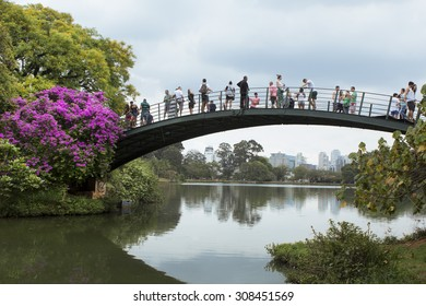 Sao Paulo, Brazil - November, 18 2014 - Ibirapuera Park bridge, one of the most famous landmark of Sao Paulo city.