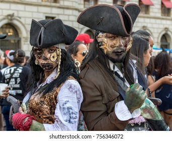 Sao Paulo, Sao Paulo, Brazil - November 2, 2017: Public march of people dressed like zombies. This march took place  in the city centre of Sao Paulo, Brazil, but specifically in the Vale de Anhangaba