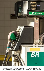 Sao Paulo, Brazil, November 20, 2013. Fuel pump with ethanol and gasoline at a Petrobras BR station in Vila Mariana, South zone of Sao Paulo