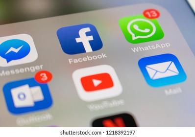 Sao Paulo, Brazil - November 2018 - Photo of a smartphone screen with Whatsapp, Facebook, Outlook, Youtube, Messenger, Mail and Netflix icons.