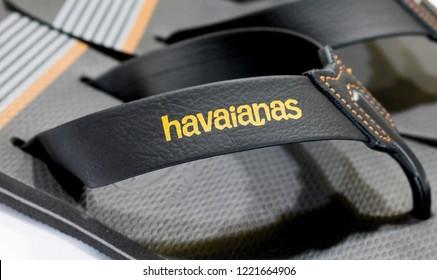 Sao Paulo, Brazil - November 2018: Close-up gray finger flip flop of Brazilian brand Havaianas. Brazil.