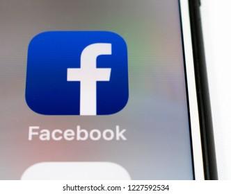 Sao Paulo, Brazil - November 2018: Cell phone screen with Facebook logo. Smartphone App.