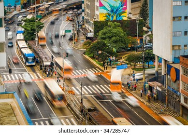 Sao Paulo, Brazil - November 26, 2015: Intense traffic in the Consolacao avenue, Sao Paulo, Brazil. It shows the dynamics of the traffic in that busy spot.