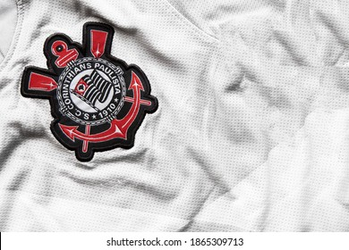 Sao Paulo, Brazil; November 27, 2020: close up on the official uniform of the Corinthians soccer team, team logo and jersey textures.