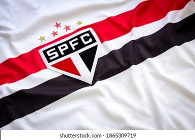 Sao Paulo, Brazil; November 27, 2020: close up on the official uniform of the Sao Paulo soccer team, team logo and jersey textures.