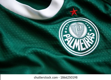 Sao Paulo, Brazil; November 27, 2020: close up on the official uniform of the Palmeiras soccer team, team logo and jersey textures.