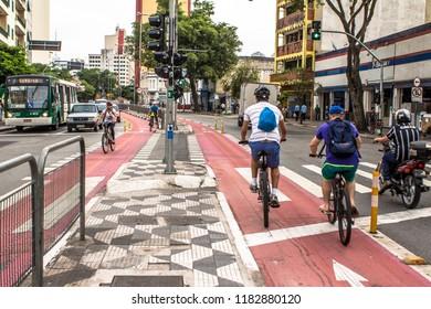Sao Paulo, Brazil, October 09, 2015. Bicycle lane in downtown Sao Paulo