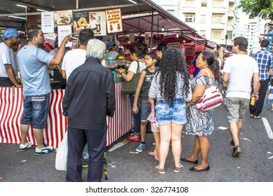 Sao Paulo, Brazil, ? October 11, 2015: Oriental street market in Liberdade neighborhood, Japanese and other Asian immigrants reside, Sao Paulo, Brazil