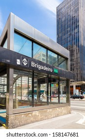 SAO PAULO, BRAZIL - October 13: Brigadeiro Station in Paulista Avenue on October 13, 2013, in Sao Paulo, Brazil. Paulista is one of the most important avenues in Sao Paulo with 2.8 km of thoroughfare.