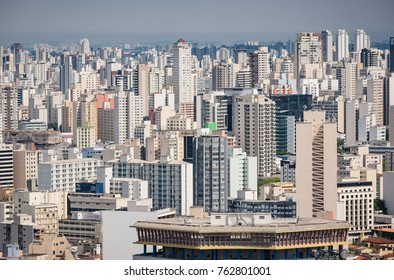 SAO PAULO, BRAZIL - OCTOBER 2017: Areal view of Brazil's largest city.