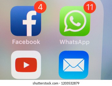 Sao Paulo, Brazil - October 2018 - Photo of a smartphone screen with Whatsapp, Facebook, Youtube and Mail icons.