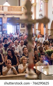 Sao Paulo, Brazil, October 28, 2011. Faithful during the Catholic Mass in honor of St. Jude Day in the interior of the church dedicated to the saint, in the south of Sao Paulo.