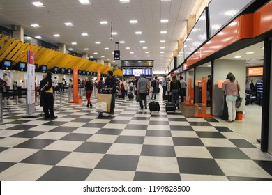 SAO PAULO, BRAZIL - OCTOBER 7, 2014: Travelers check in at Congonhas airport of Sao Paulo. The airport served 17.1 million passengers in 2013.
