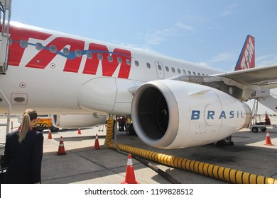 SAO PAULO, BRAZIL - OCTOBER 7, 2014: TAM Airlines Airbus A320 at Congonhas airport of Sao Paulo. The airport served 17.1 million passengers in 2013.