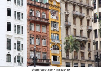 Sao Paulo, Brazil - old residential architecture street view.
