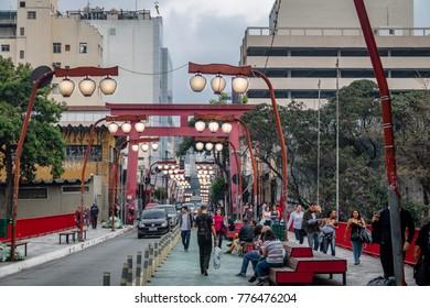 Sao Paulo, Brazil - Sep 25, 2017: Torii Gate at Liberdade Avenue in Liberdade japanese neighborhood - Sao Paulo, Brazil