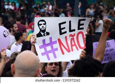 SAO PAULO, BRAZIL - SEPT 29th, 2018: Thousands of people took to the streets and marched  Saying 'Not Him' against Leading Brazil Candidate Jair Bolsonaro.