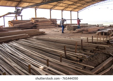 Sao Paulo, Brazil, september 03, 2008. Workers in a sawmill that works with reforestation wood in the Sao Paulo state