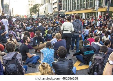 """Sao Paulo, Brazil, September 04, 2016. Protesters participating in the protest """"Fora Temerâ?�, Out of Temer in portuguese, against to President Michel Temer, in Paulista Avenue, Sao Paulo"""